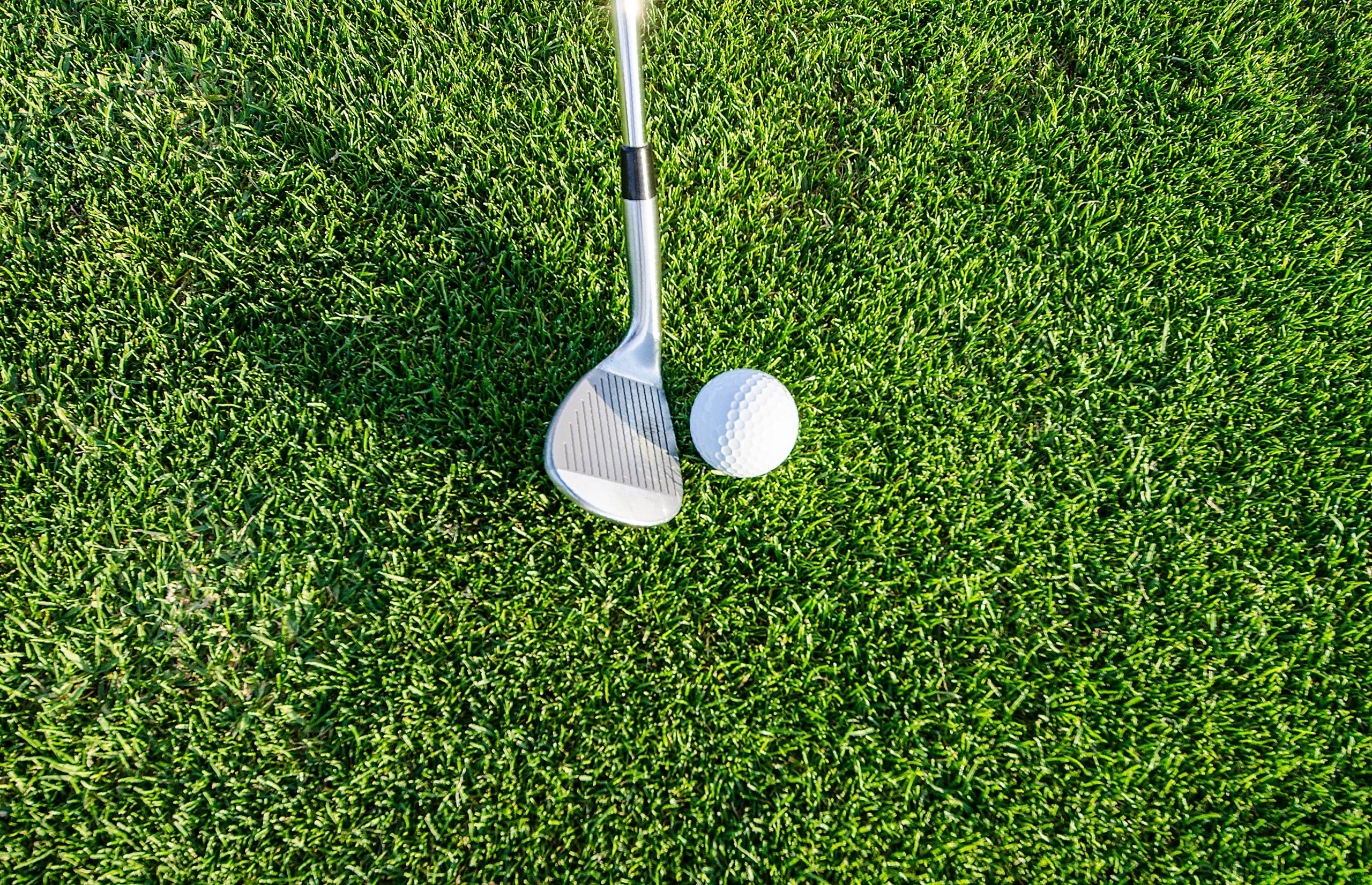 image of green grass with golf club and golf ball